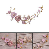 Wedding Bridal Prom Gold Plated Pearl Crystal Flower Tiara Hair Band Headband