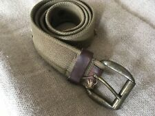 Men's Broken-In Green Military Style Canvas Web Belt with Leather Trim Size 32