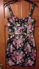 Mango black floral 50s style dress size M(8)