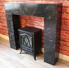 Black Marble Effect Modern Chunky Box Fire Surround