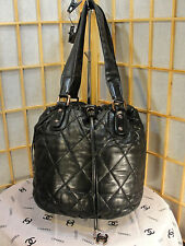 CHANEL Black Quilted Leather Drawstring & Snap close Lg Handbag Tote Nice Buy!
