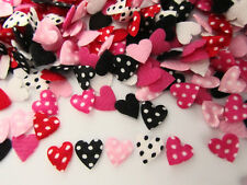 200 Pink & Red Polka Dot Mini 1cm Heart Applique/Valentine/craft/fabric/bow H206