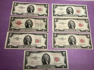 Lot of 7 - Series 1928, 1953  & 1963 Red Seal $2 Two Dollars US Notes b9c