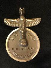 Vintage Brass 1862-1962 Big Dollar Victoria BC Canada Totem Pole Paperweight