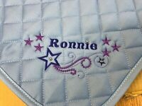 Personalised Embroidered Saddle Cloth with star swirl and diamante  3 sizes, 9