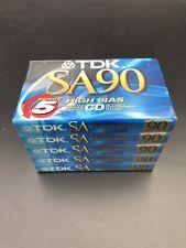 TDK SA 90 5 Pack Blank Cassette Tapes High Bias High Output Super Avilyn - NEW