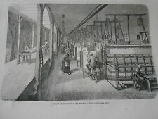 Gravure 1863 - Fabrique de Broderies de M. Bourry à Saint Denis
