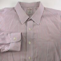 Brooks Brothers Mens Button Front Shirt Light Blue Red Stripe Non Iron 19-35