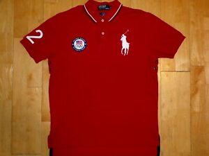 OLYMPIC Mens TEAM USA Ralph Lauren BIG PONY Red Medium M POLO Shirt LONDON