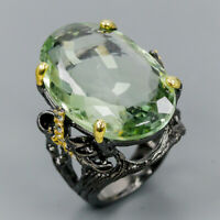 Vintage SET38ct+ Natural Green Amethyst 925 Sterling Silver Ring Size 8/R121535