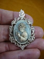 CS41-24) Woman in hat mirror ivory gray CAMEO Vintage silver Pendant Necklace