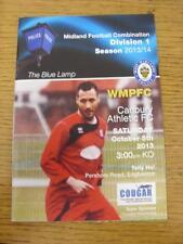 05/10/2013 West Midlands Police v Cadbury Athletic  . Item in very good conditio