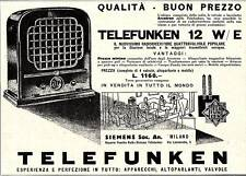 PUBBLICITA' 1930 TELEFUNKEN RADIO 12 W QUATTRO VALVOLE SIEMENS MILANO RICEVITORE