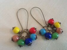 Czech glass beaded Earrings HARLEQUIN Rainbow cluster Vintage Deco Style dangles