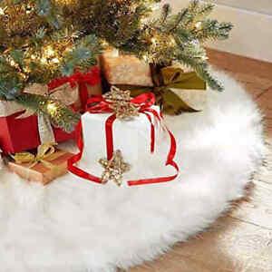 78/90/120cm White Fluffy Christmas Tree Skirt Shaggy Rug Xmas Floor Home Decor