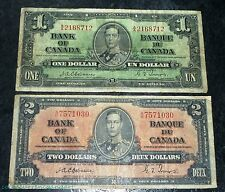 Osborne -Towers 1937  Bank of canada $1 & 2 -Two Banknotes