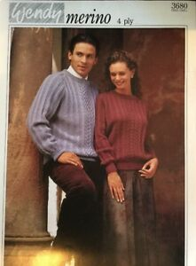 """Wendy 4 Ply Knitting Pattern 3680 Mens Ladies Jumper Sweater Size 30/ 46"""" ......"""