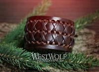 "Leather Viking X Bracelet or Wrist Cuff - Woven Berserker ""X"" Lace -- Adjustable"