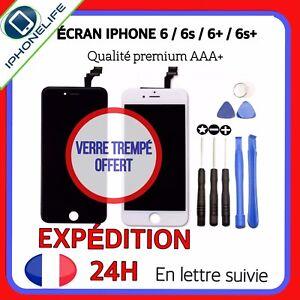 ECRAN LCD IPHONE 6 / 6 Plus / 6S / 6S Plus NOIR/BLANC+VITRE TACTILE SUR CHASSIS
