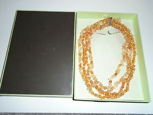 Ross Simons Cultured Pearl & Citrine Nugget 4 Strand Necklace New In Box