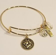 Gold Plated 2 Sided Leo Zodiac Astrology Wire Bangle Bracelet With Clasp