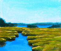 Maine Kennebunkport York River Marsh Original Oil Painting Plein Air Signed