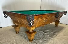 1890 Brunswick Oak Manhattan 8 ft antique pool table. professional restoration