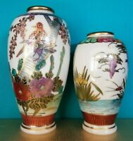 Pair of Japanese Vases Hand Painted Vintage Gold Accents birds flowers Oriental
