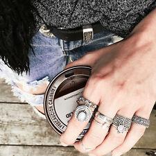 7pcs / set Frauen-Retro- Weinlese -Ring Set Lone Wolf Oval-Band-Ring Schmuck neu