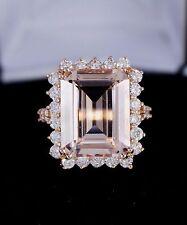 $7800 14k Rose Gold Emerald Cut Pink Morganite Round Diamond Cocktail Ring Sz 7