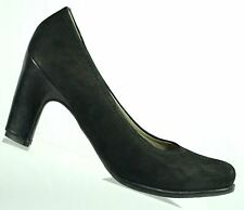Ecco Womens Pumps Heels Black Nubuck Leather Block Heels Size EUR 36  US  5  5.5