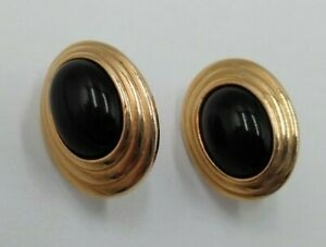 "Vintage AVON 1980's Classic Black Cabochon Enamel 1"" Gold Tone Clip On Earrings"