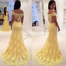 Yellow Mermaid Evening Dress Appliques Lace Prom Party Gowns Bridesmaid Dresses