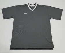VTG FILA Felt Raised Logo Short Sleeve V Neck T Shirt Made in Italy Vintage 90s