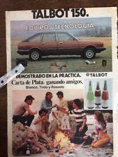 Publicidad Automóvil Talbot 150