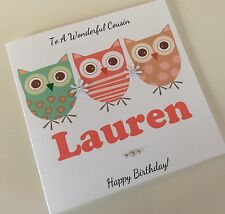 Handmade Personalised Ditsy Owls Birthday Card: Niece Sister Daughter Cousin Mum