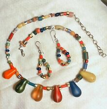 ARTISAN MULTI COLOR AFRICAN WEDDING TEARDROP/CHRISTMAS BEADS EARRINGS  NECKLACE