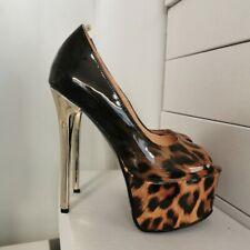 NICE Women Pumps Pee9 Toe Heel Pumps Party Leopard Shoes Woman Plus Size 4-20