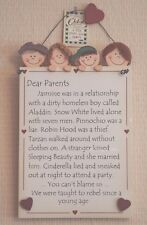 Dear Parents Sign Plaque 3D Novelty Humorous Mothers Fathers Day 28cm F1200