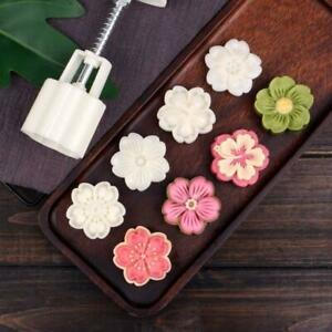 50g Mooncake Mold 4pcs Hibiscus Cherry Stamps Hand Press Moon Cake Pastry Mould
