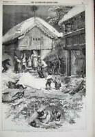 Original Old Antique Print 1856 Winter Scene Norway Houses Children Tidemand