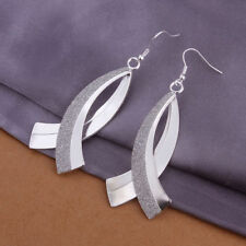 "NEW - SILVER - ""PLAIN AND FROSTED FANCY DESIGN"" DROP-DANGLE - FASHION EARRINGS"