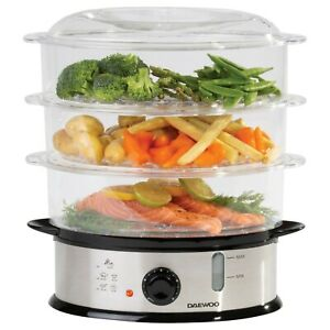 Daewoo Electric 3 Tier Steamer Healthy Food Cooker Boil Vegetable Rice Meat Fish