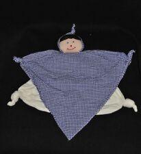 Peluche doudou poupée fille plat HIRSLANDEN blanc bleu à carreaux vichy TTBE