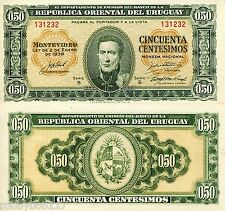 URUGUAY 50 Cents Banknote World Money aUNC/XF Currency BILL Note Pick p34 1939