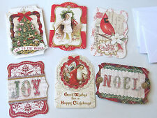 6 PUNCH STUDIO Die Cut Christmas Note Cards Victorian Old World Santa Tree Child