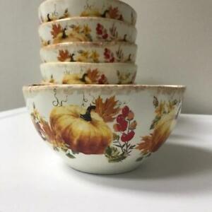 Fall Harvest Pumpkin Envouge Dishware Six Soup Cereal Bowls