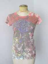 NWT $42 Pepe Jeans London Cherub Angels Fitted T-Shirt Knit Top Sequin Rose L