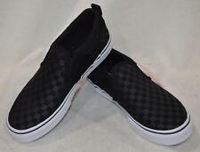 Vans Boy's Asher Checkered Black Slip On Skate Shoes - Size 11 Nwb