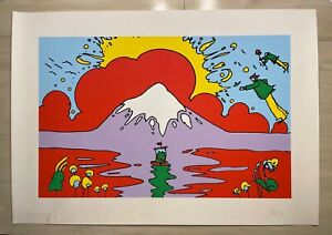 """PETER MAX Snow Capped Mountain Signed Lithograph--25"""" by 36"""""""